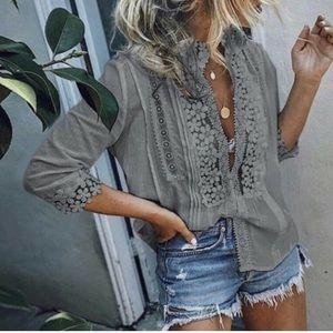 COMING SOON!! Boho Gray Lace Blouse